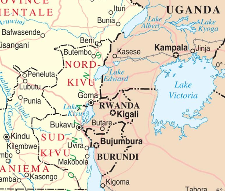 Mapa del este de la República Democrática del Congo